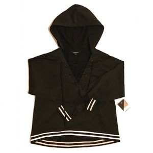 NWT Project Runway Black Striped Laced Hoodie